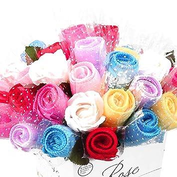 Gereton 10 Unids Toalla Rosa - Toalla innovadora Mini Toalla de Microfibra Rose Creativa Toallas para el Banquete de Boda/Cumpleaños/Día de San Valentín ...