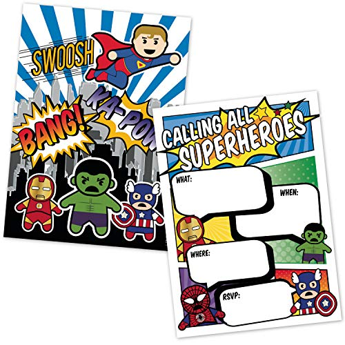 Superhero Birthday Party Invitations (20 Count with Envelopes) - Superhero Party Supplies - Fill in The Blank Invites for Kids - Comic Book Style Design Super Hero Characters Announcements]()