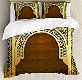 Ambesonne Moroccan Duvet Cover Set Queen Size, Middle Eastern Ramadan Greeting Scroll Arch Figure Celebration Holy Eid Theme, Decorative 3 Piece Bedding Set with 2 Pillow Shams, Golden Brown