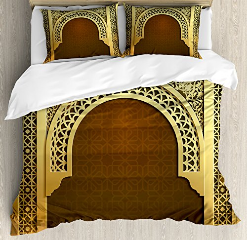Ambesonne Moroccan Duvet Cover Set Queen Size, Middle Eastern Ramadan Greeting Scroll Arch Figure Celebration Holy Eid Theme, Decorative 3 Piece Bedding Set with 2 Pillow Shams, Golden Brown by Ambesonne