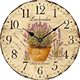 Yesee Silent Wall Clock Battery Operated Non Ticking, 12'' Vintage Large Wood Wall Clock Decorative for Kids Bedroom Kitchen Living Room.[No Case] (12 inch, Lavender)