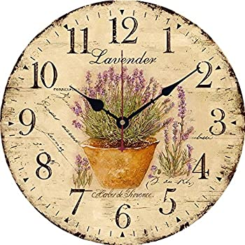 Yesee Silent Wall Clock Battery Operated Non Ticking, 12 inch Vintage Large Wood Wall Clock Decorative for Kids Bedroom Kitchen Living Room.[No Case] (12 inch, Lavender)