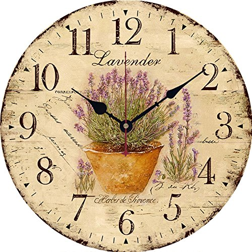 Yesee Silent Wall Clock Battery Operated Non Ticking, 12'' Vintage Large Wood Wall Clock Decorative for Kids Bedroom Kitchen Living Room.[No Case] (12 inch, Lavender) by Yesee