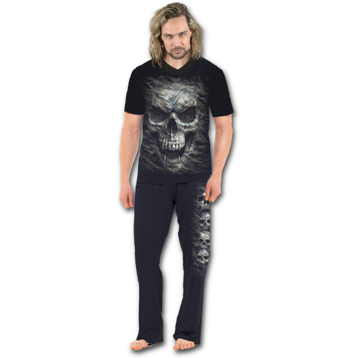 Spiral - CAMO-SKULL - 4pc Mens Gothic Pyjama Set Spiral Direct Ltd T141M631