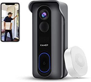 【2021 Newest】 Wireless WiFi Video Doorbell Camera with Chime HD 1080P Waterproof Home Security Camera Battery Powered with 2-Way Audio, Motion Detection ,Night Vision,Wide Angle,Cloud Storage, KAMEP