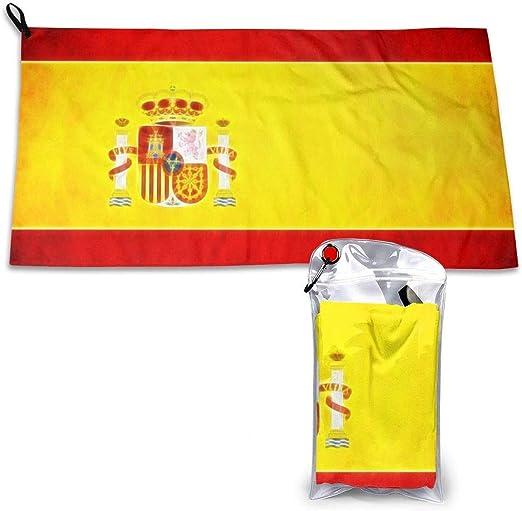 LBTD - Toalla de microfibra de secado rápido con diseño de la bandera de España, muy absorbente, apta para senderismo, viajes, camping, playa, mochilero, gimnasio, deportes y natación, 40 x 80 cm: