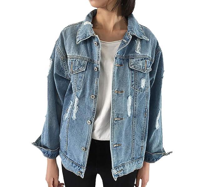 JackenLOVE Primavera y Otoño Chaquetas Vaquera para Mujeres Moda Ropa de Abrigo Outerwear Coat Casual Manga Larga Tops Cazadora Denim Jacket: Amazon.es: ...