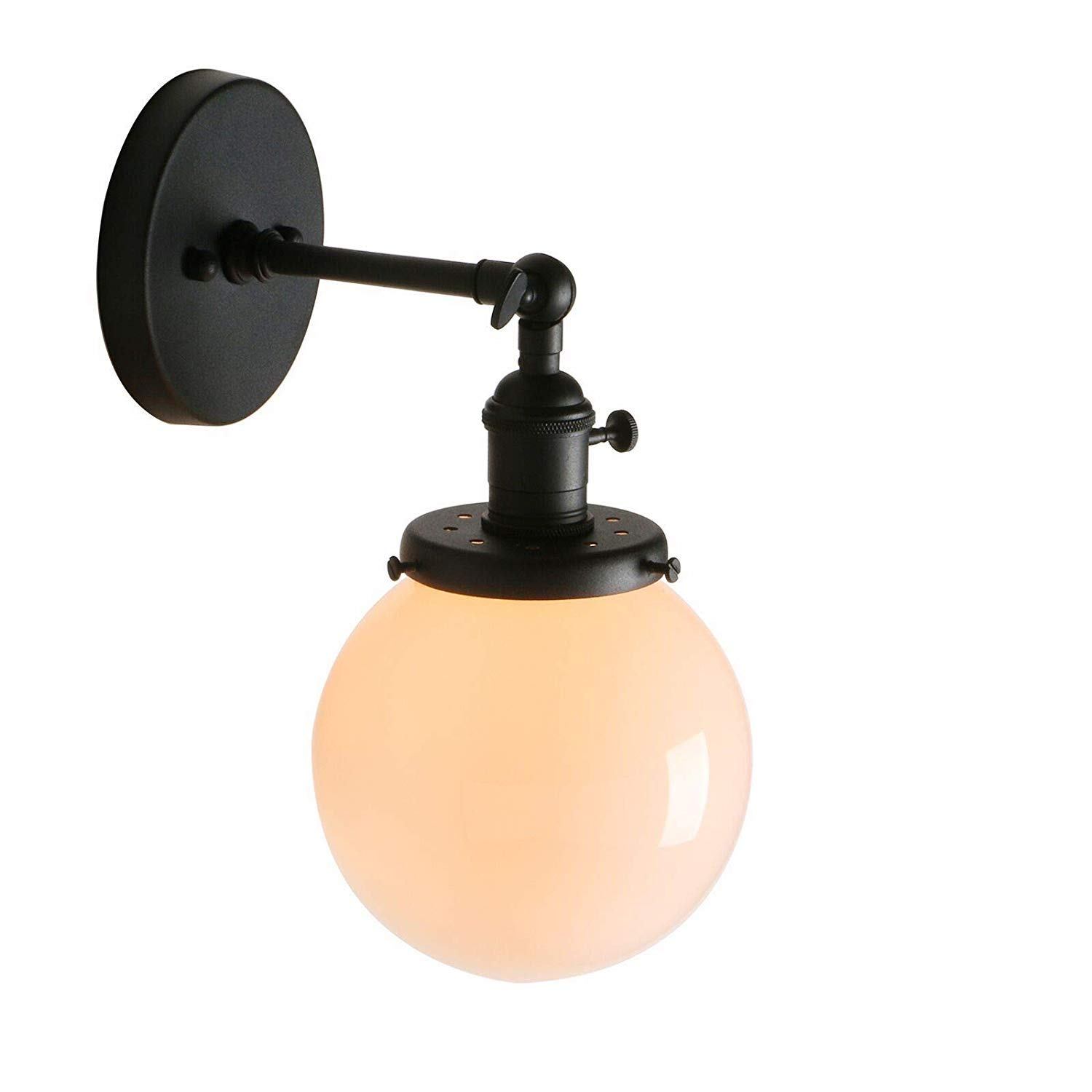 Pathson 1-Light Wall Sconce with White Globe Shade, Metal Base Wall Lamps, Vintage Style Wall Light Fixtures with On Off Switch for Indoor Bathroom Lightning