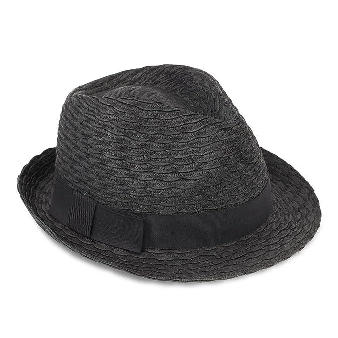 61ba3fc76ae Men & Women's Summer Short Brim Straw Fedora Hat (black) at Amazon Men's  Clothing store: