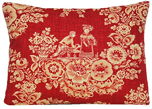 French Toile Design Accent Pillow Throw Case Rusty Orange Cushion Cover French Style Les Romantiques Marvic Fabric -