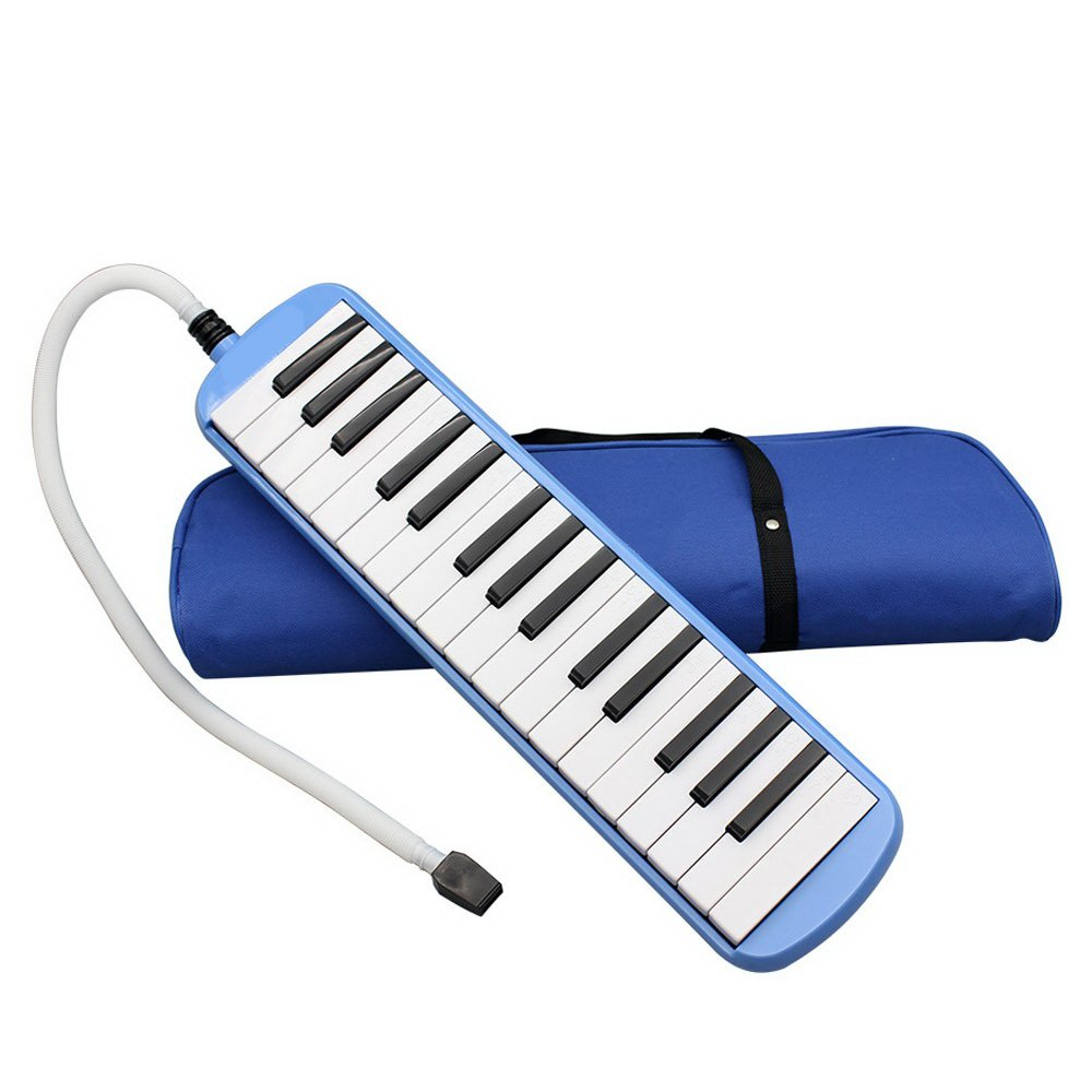 Portable 32 Key Melodica with Blowpipe & Blow Pipe Student Class Harmonica with Bag Toy Gift (Blue)
