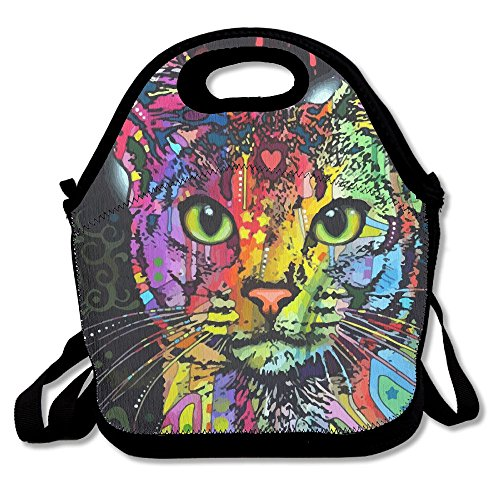 ZGZGZ Rainbow Color Cat Adjustable Straps Lunch Box Bag Tote Holder Suitable For Students And Working Families