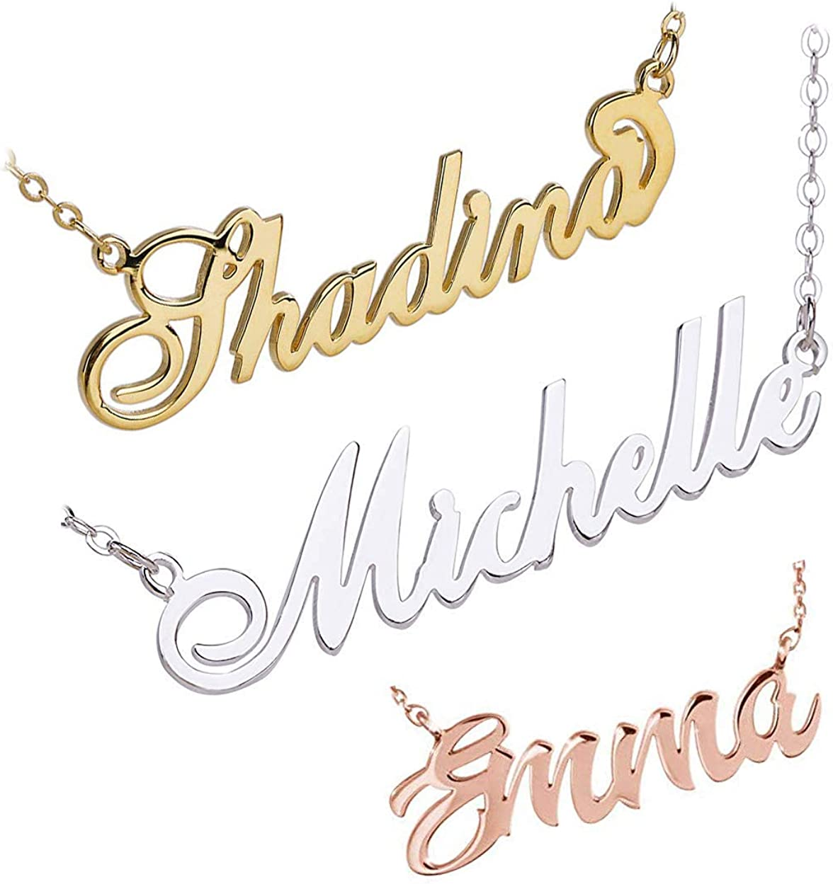 Shineyou Personalized Name Necklace Custom Necklace for Women//Men//Wife Rose Gold 925 Sterling Silver Necklaces 24K Gold