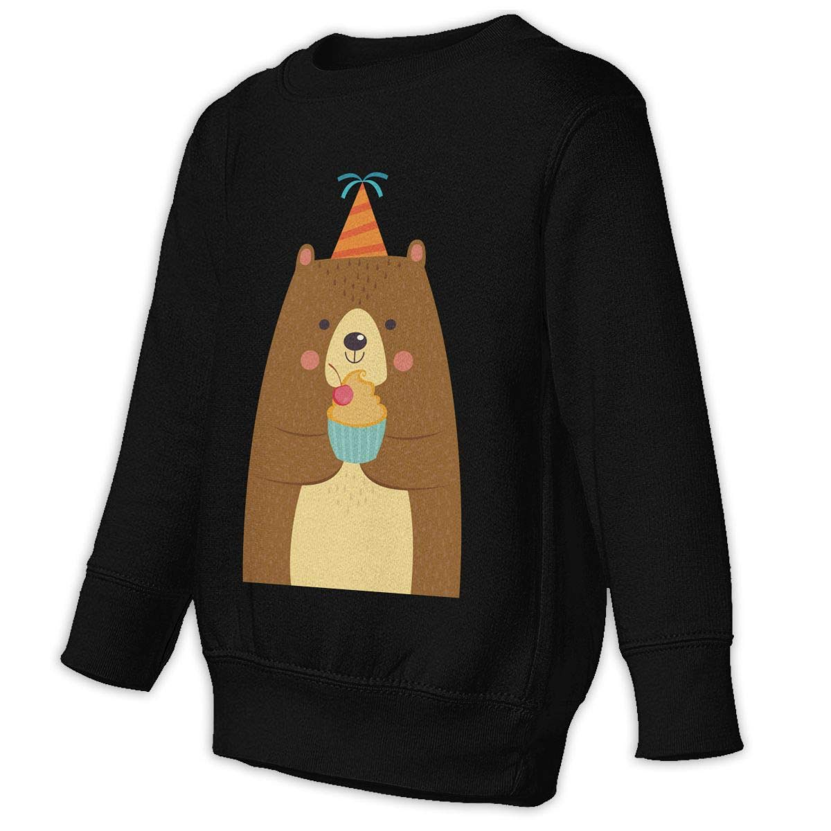 Fleece Pull Over Sweatshirt for Boys Girls Kids Youth Cute Brown Bear with Cake Unisex Toddler Hoodies