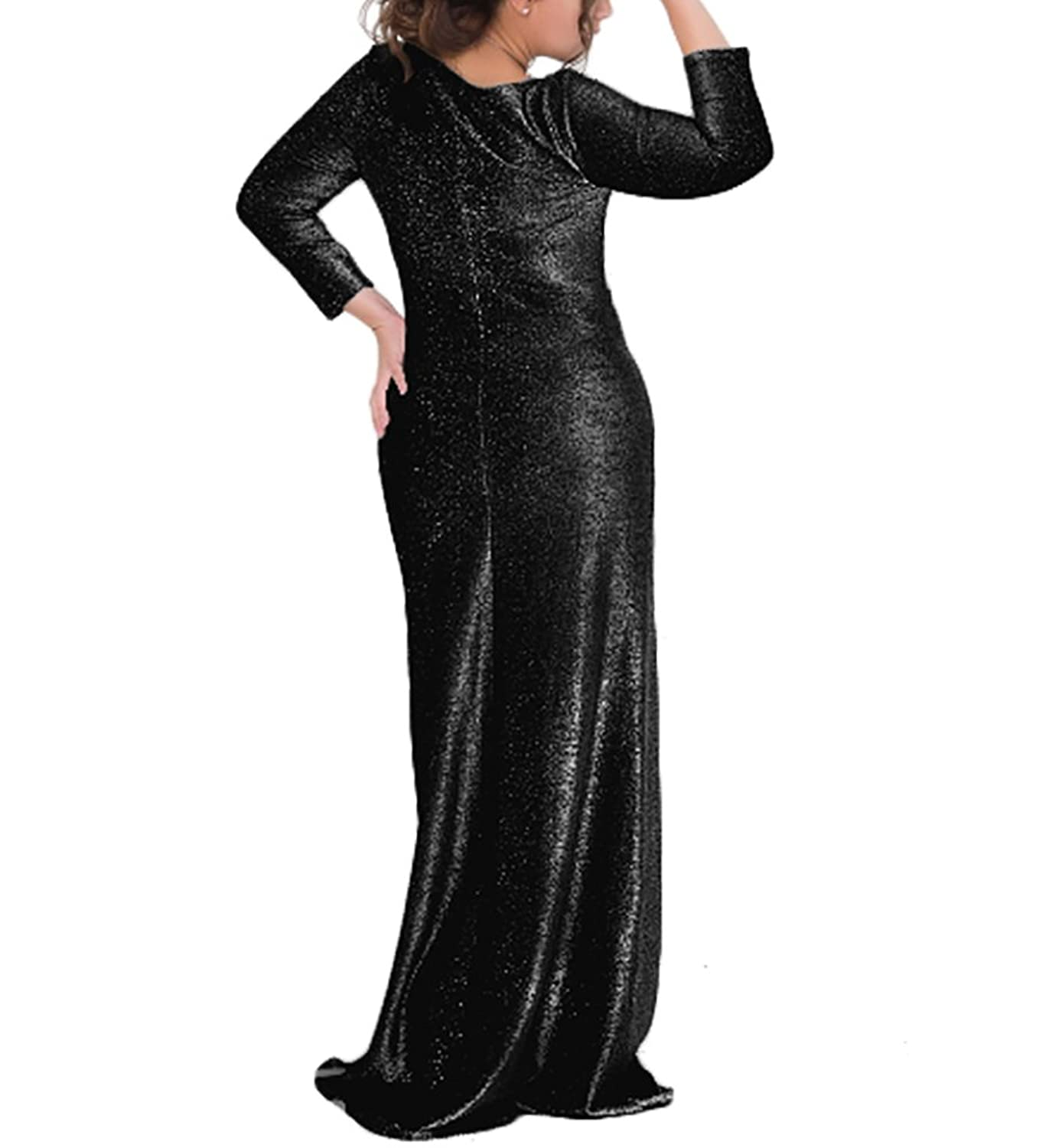 COCOEPPS Womens Plus Size Long Sleeve Shiny Evening Party Maxi Dresses Christmas Dresses at Amazon Womens Clothing store:
