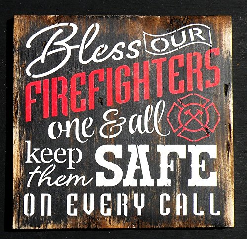 Olga212Patrick Firefighter Hero Sign Bless Our Firefighters Hand printed Sign First Responder Rustic Decor Firehouse Wall Decor Fireman Decor Wood Sign