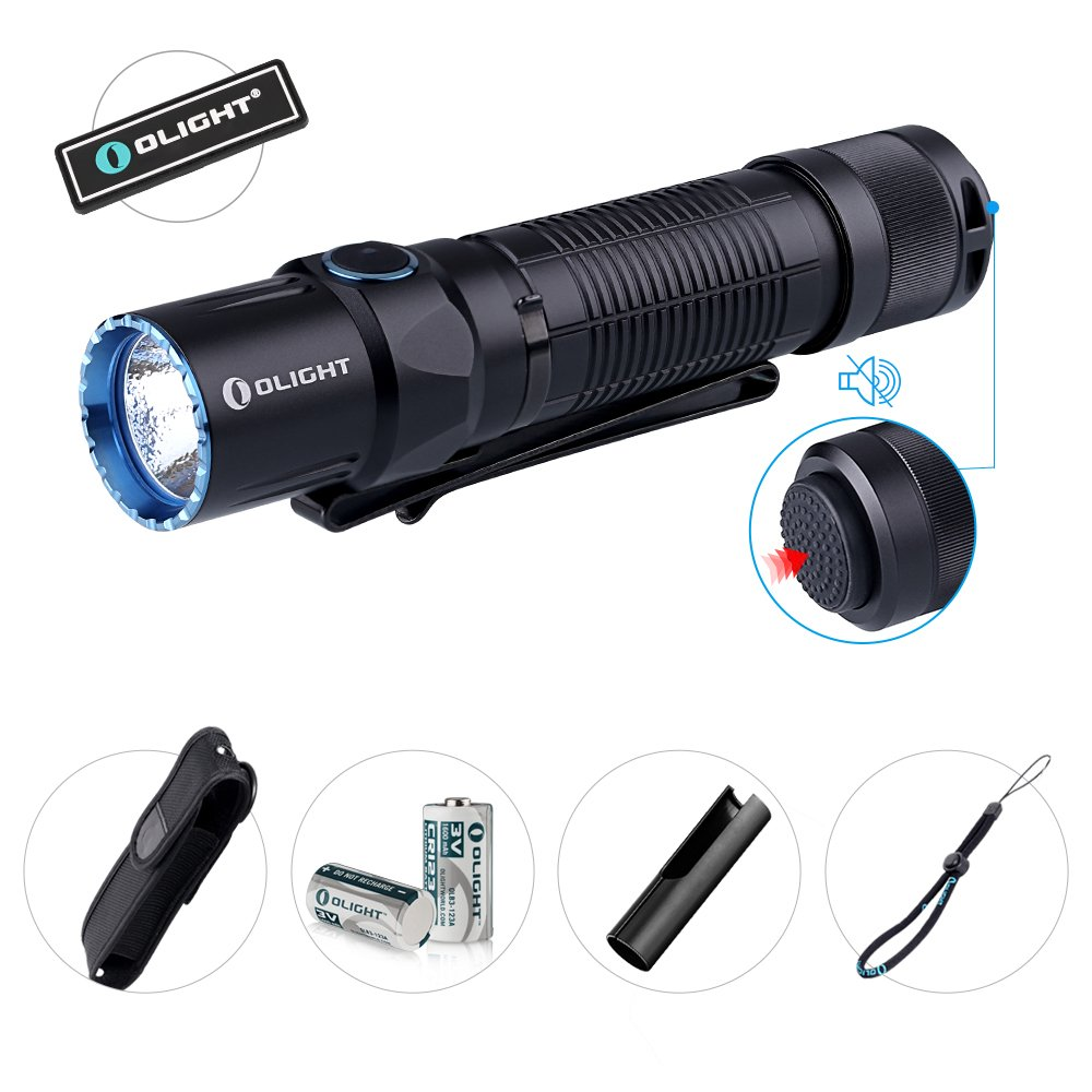 Bundle Olight M2T 1200 Lumen Dual Switch Tactical led Flashlight with Two CR123A Batteries Holster Lanyard Pocket Clip and Patch