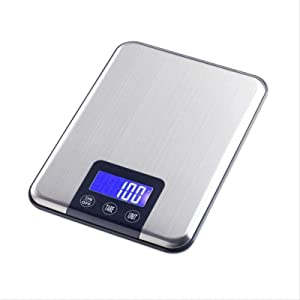 Digital Kitchen Scale, Ultra Thin Flat Stainless Steel Kitchen Weighing Scales Food Home Electronic Scale, 15Kg / 1G,Silver