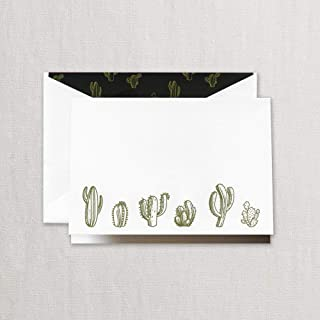 product image for Crane & Co. Engraved Cactus Note with Lined Envelopes- Pack of 10 Cards