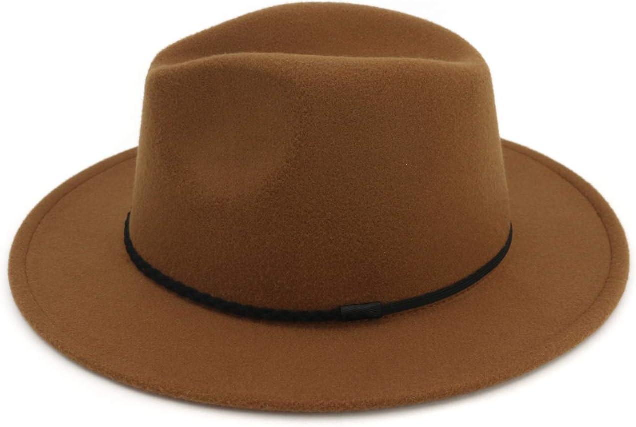JIANG Chapeau Feutre Mode Femmes Hommes Fedora Laine Coton Polyster Chapeau for lhiver Automne /Él/égant Dame Papa Trilby Feuille M/étal Boucle Gentleman Jazz Chapeau