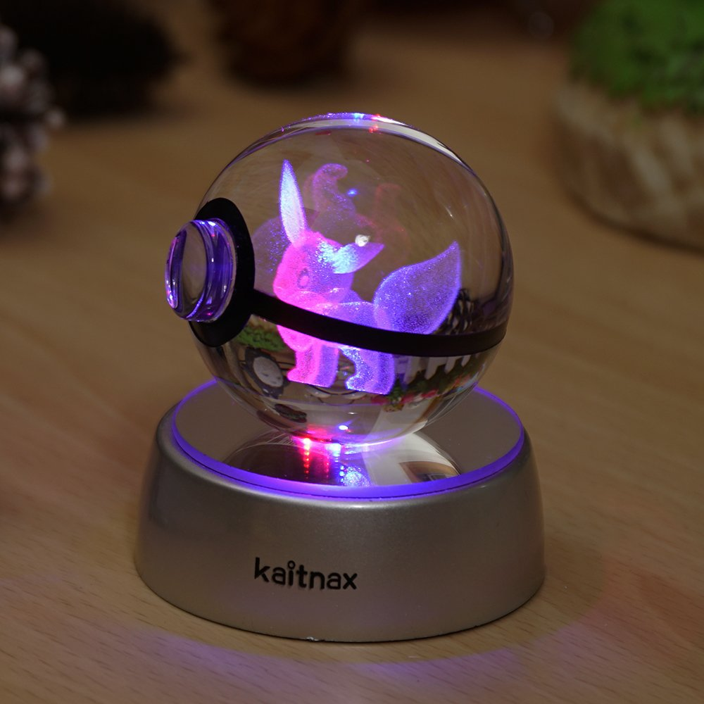 3d Crystal Ball Lamp Laser Engraving Image in the Ball LED Color Change Base (Eevee)