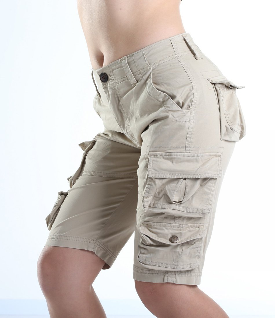 FOURSTEEDS Women's Cotton Butt Lift Multi-Pockets Camouflage Casual Twill Bermuda Cargo Shorts with Belt Light Khaki US 8 by FOURSTEEDS (Image #4)