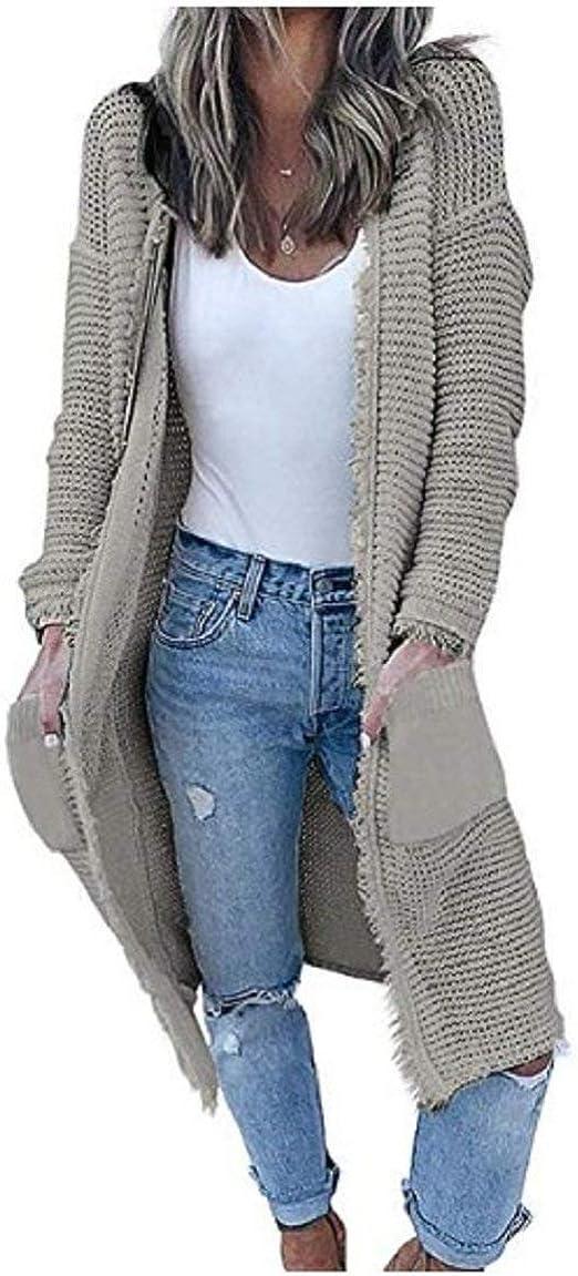 Grau Taschen mit Kapuze Mode Damen Cardigan Lange ...