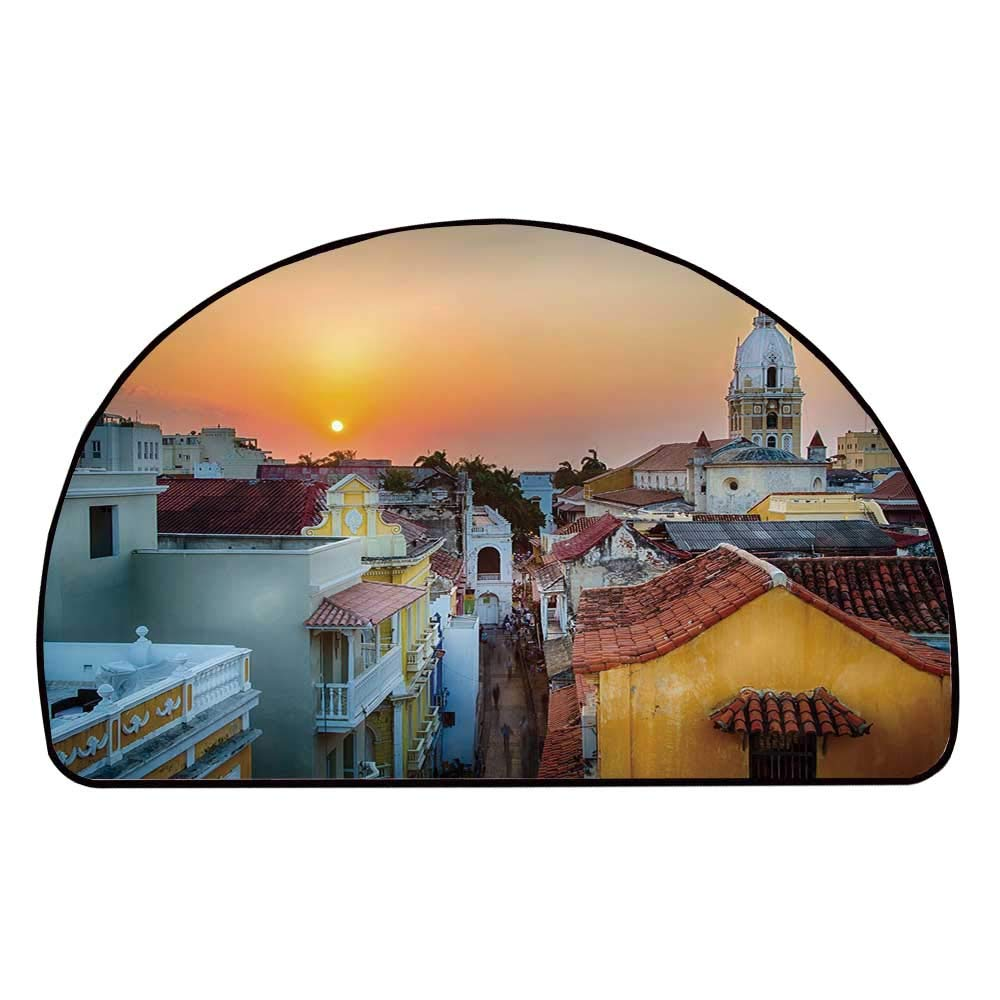 C COABALLA Sunset Comfortable Semicircle Mat,View Over The Rooftops of The Old City Cartagena Cathedral Colombian Coast Picture Decorative for Living Room,11.8'' H x 23.6'' L