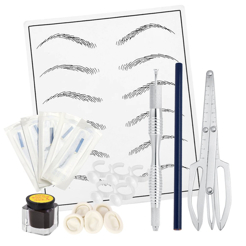 ATOMUS Semi Permanent Microblading Kit for Eyebrows Tattoo Practice Skin Eyebrow 12 pin Microblading Needles Manual Tattoo Pen There-point positioning Ruler Set Tattoo Accessories