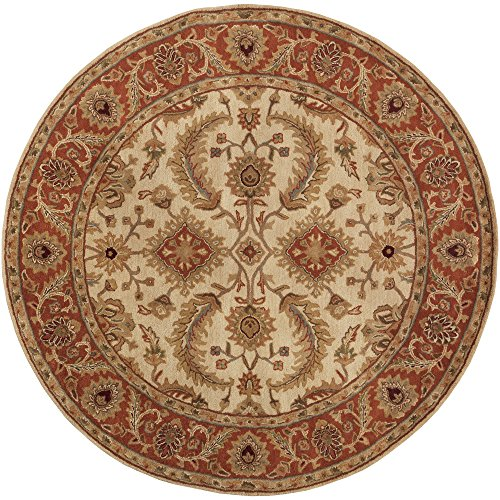 - Surya Ancient Treasures A-160 Classic Hand Tufted 100% Semi-Worsted New Zealand Desert Sand 8' Round Traditional Area Rug