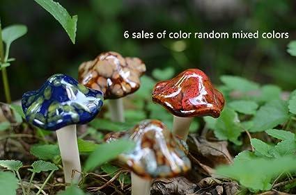 Fitlyiee 6 PCS Garden Mushrooms Decor Lawn Ceramic Decorative Stakes  Creative Pottery Ornament Figurine Fairy Outdoor