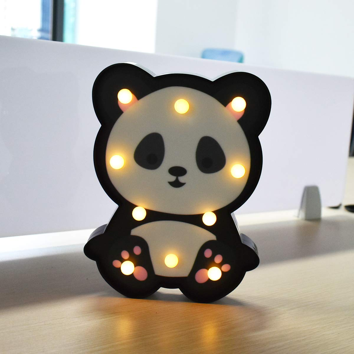 Panda LED Night Light Sign Novelty Animal Decoration Children's Room Bedside Lamp Kids Toy-Battery Operated LED-Portable Baby Kid Sleeping Bedroom LED Glow Nursery Lamps- Panda