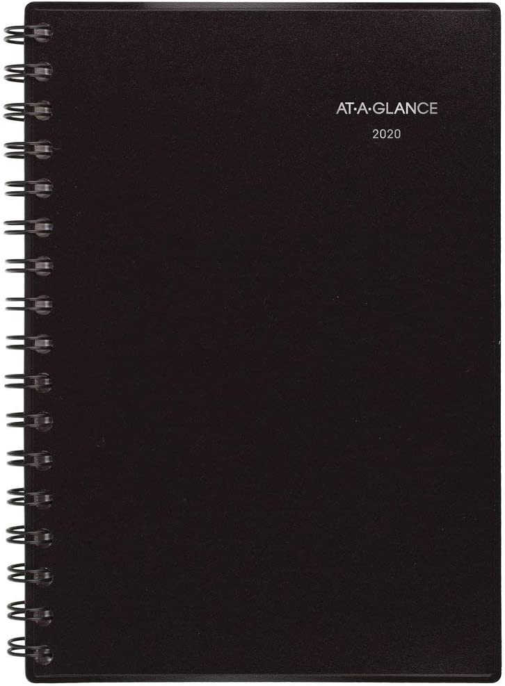 "AT-A-GLANCE 2020 Weekly & Monthly Planner, 5-1/2"" x 8-1/2"", Small, Notetaker, Black (7073505)"