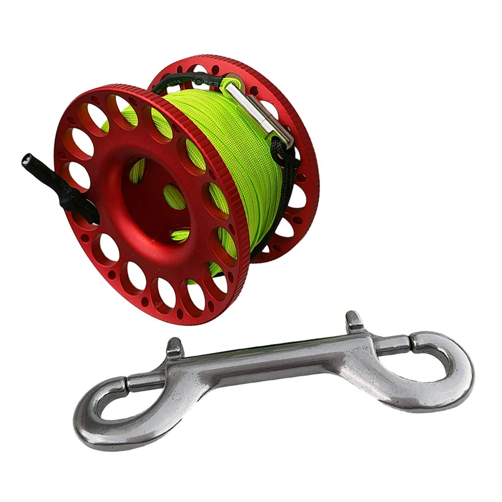 CUTICATE Scuba Diving Finger Spool Reel 15m Line with Double Ended Snap - Red by CUTICATE