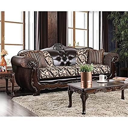 Amazon.com: Furniture of America Elly Traditional Faux ...