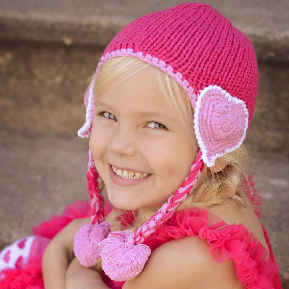 Huggalugs Baby and Girls Pink Valentine Heart Beloved Beanie Hat or Legwamers