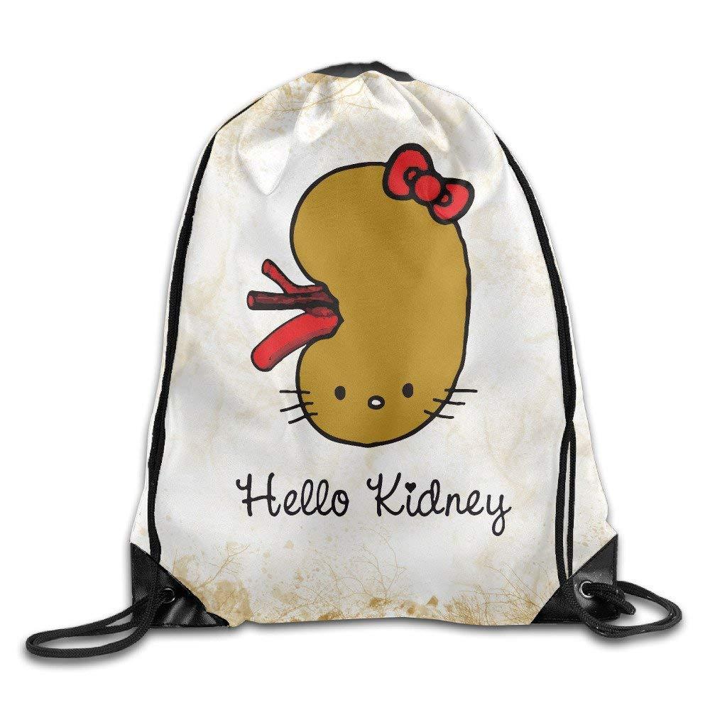 Funny Hello Kidney Training Gym Drawstring Backpack Sack Bag