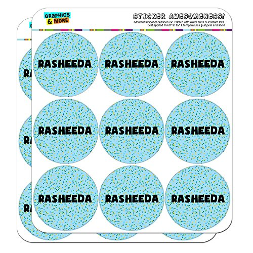 "Rasheeda - Name Scrapbooking Crafting Stickers - Blue Speckles - 18 2"" Stickers"