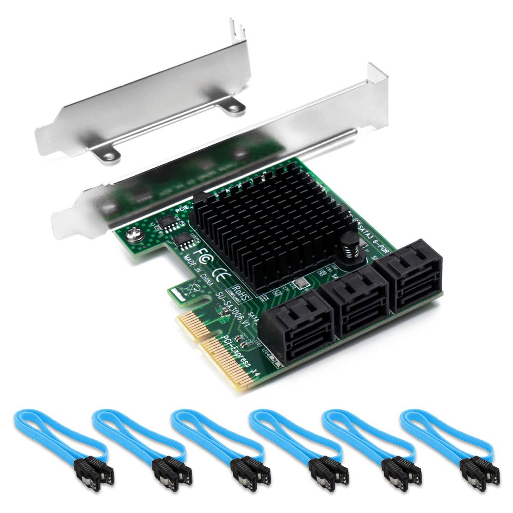QNINE SATA Card PCI-e 6 Port with 6 SATA Cables, PCIe SATA Controller Expression Card with Low Profile Bracket, Boot as System Disk, Support 6 SATA 3.0 Devices