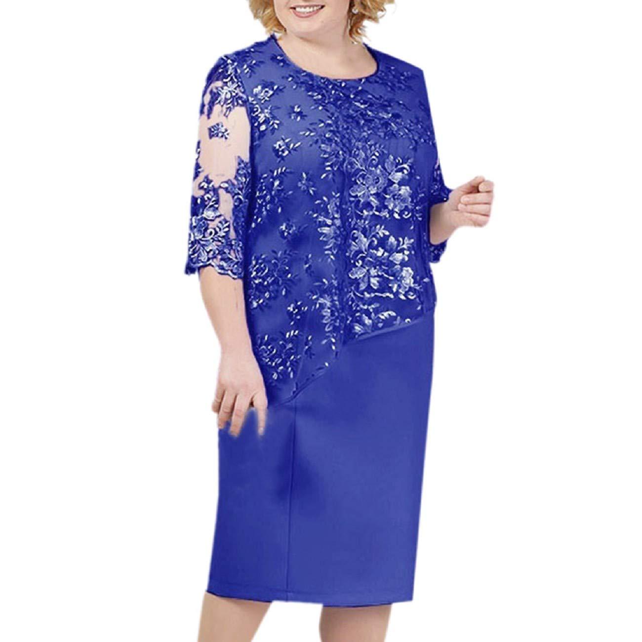 FAPIZI Women Plus Size Sequin Midi Dress Floral Lace Patchwork Wedding Cocktail Party Evening Dress Dark Blue