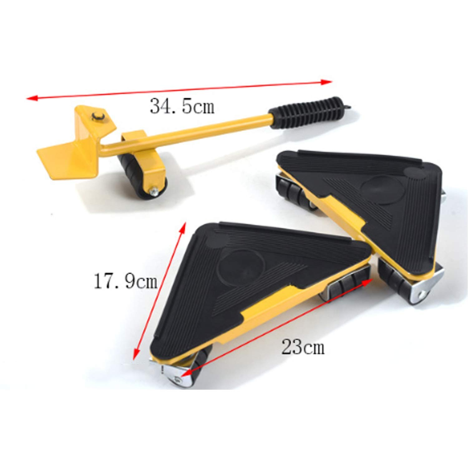Your only family Practical Can Bear 400-500KG Triangular Moving Device Triangle Iron Mover with Universal Wheel Movable Portable Easy to Move Heavy Goods and Furniture Durable (Color : Yellow) by Your only family (Image #7)