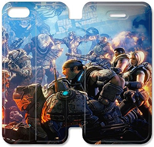 Klreng Walatina® Coque iPhone 6 6s Plus de 5,5 pouces Coque cuir Gears Of War monstre de tournage de Scream soldats Marcus Fenix ??P8W2Ij