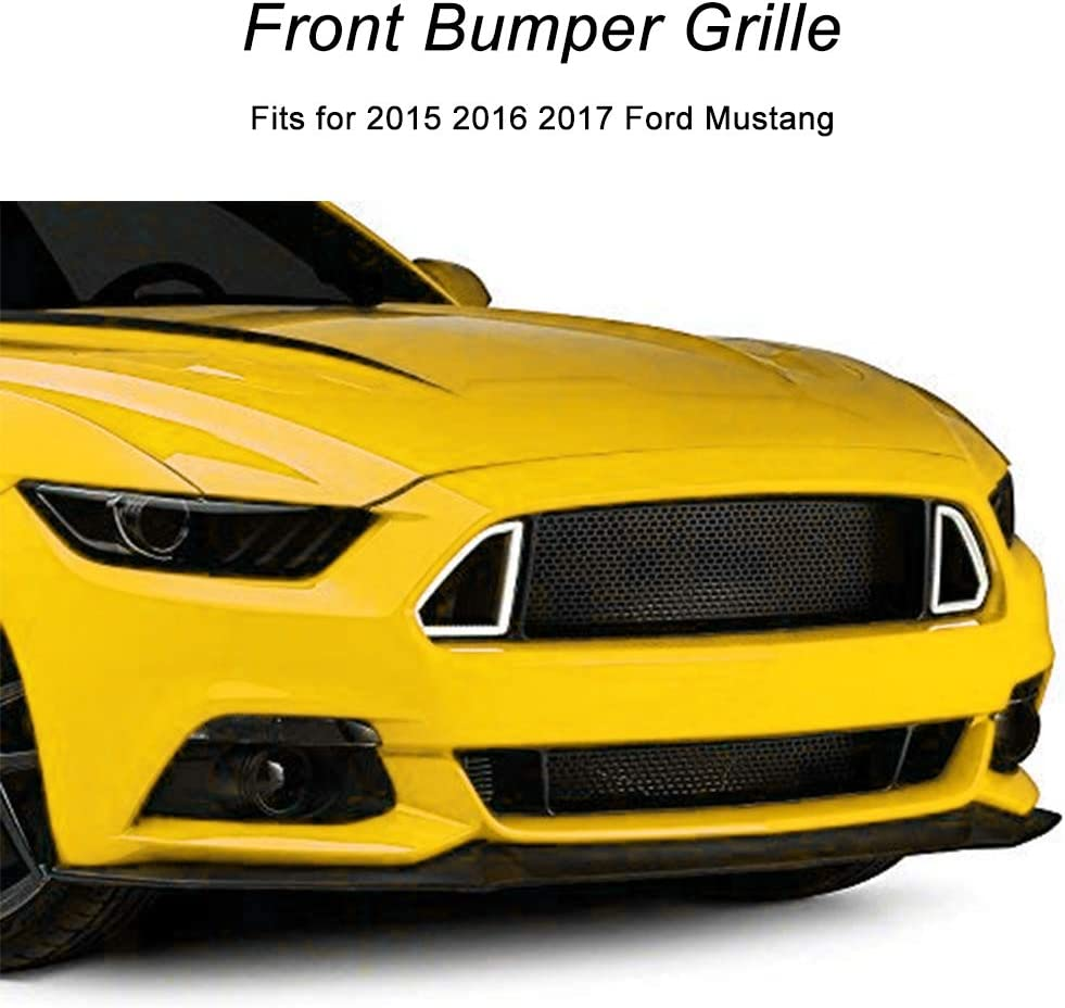 Black Front Bumper Mesh Grille Grill for Ford Mustang 2015 2016 2017 With LED White Lights
