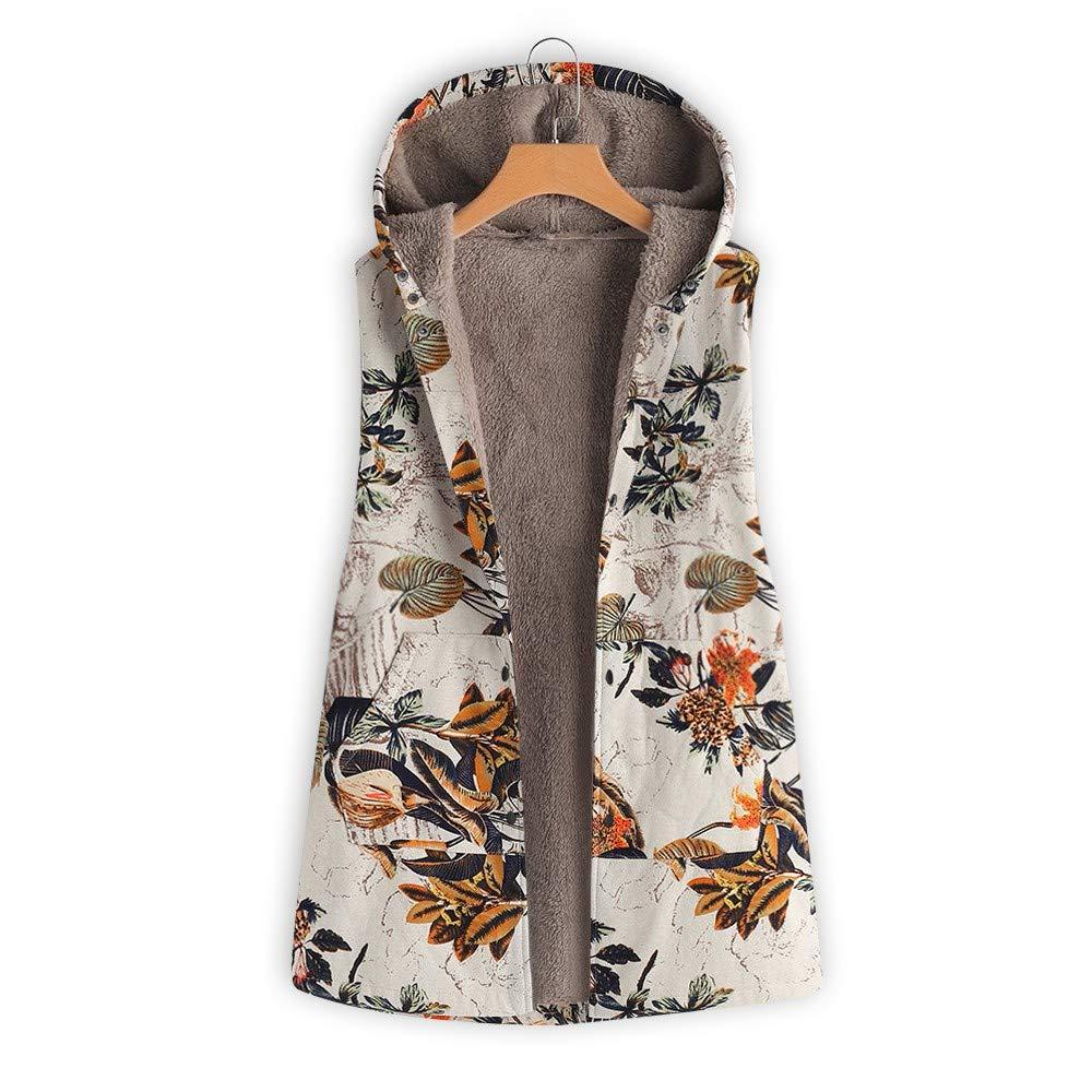 Manteau à Capuche Femme Hiver Chaud Grande Taille Blouson avec Capuche Poche Outwear Décontracté Gilet sans Manches Waistcoat Cardigan Coupe-Vent Parka Veste Imprimé Floral Orange