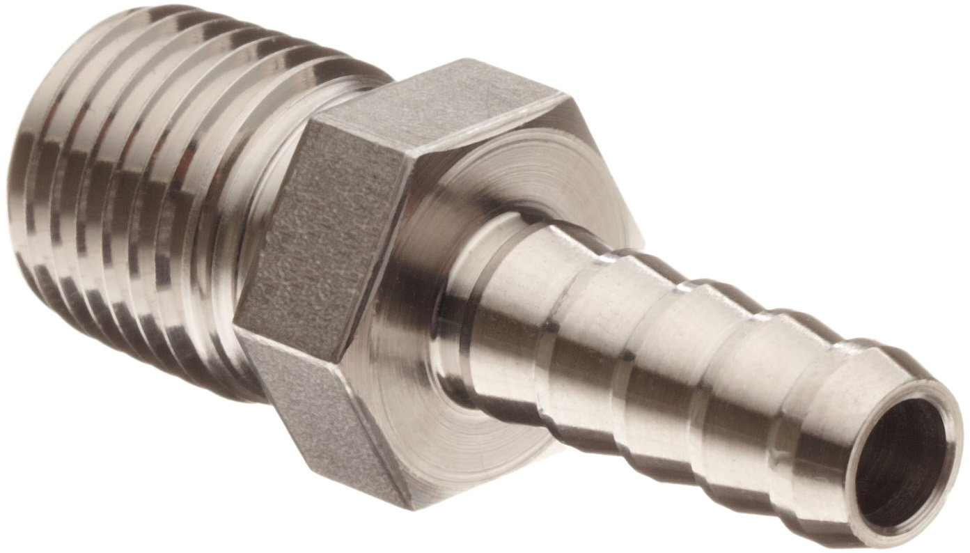 Parker 316 Stainless Steel Barb Connector To Male Pipe 1/4'' Hose Barb 1/4'' Male NPT