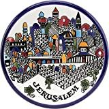 Jerusalem city walls and old city view Armenian ceramic plate - Medium III (5.2 inches or 13cm) - Asfour Outlet Trademark