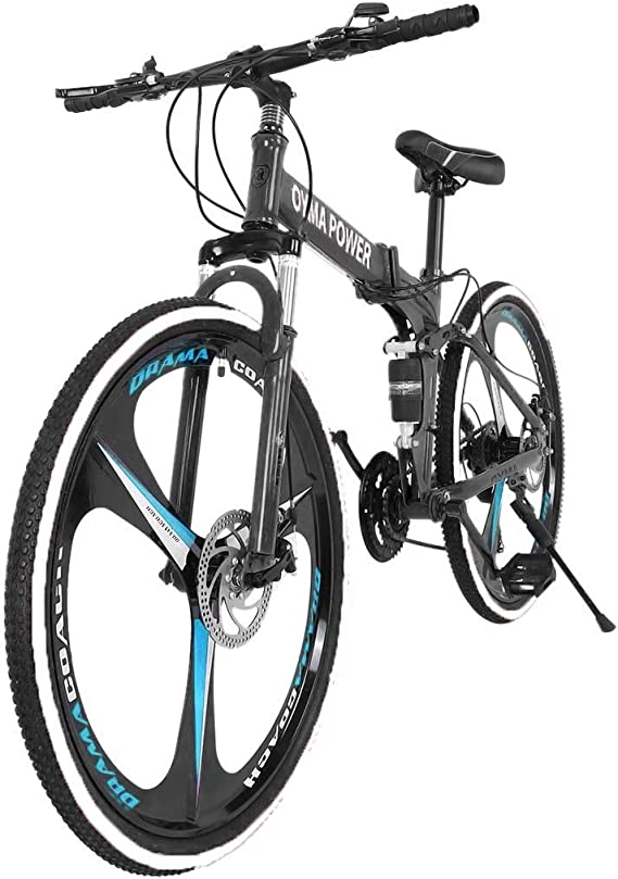 gofh 26 Inches Folding Mountain Bike Shimanos 21 Speed Bicycle Full Suspension MTB Bikes Mens/Womens Bicycles Black