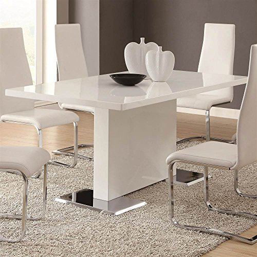 Coaster Home Furnishings Glossy White Contemporary Dining Table, 63 x 35.5 x 30 Inch (Contemporary Dining Tables Sets)