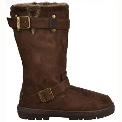 f78429e0658a Ladies Womens Ella Biker Fur Lined Flat Winter Snow Boot - Chestnut Brown