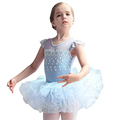 dbef14866 Girls Ballet Tutu Dress Leotard Skirt Dance Costume Fly Sleeves ...